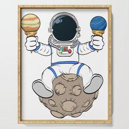 A Fan Of Astronomy? An Astronaut Dreamer? Here's An Antronaut Eating Ice Cream Dessert T-shirt Serving Tray