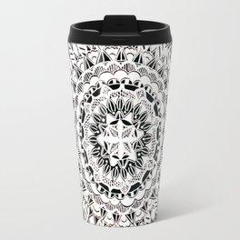 Black, Silver, and Pearl White Mandala Textile Pattern Travel Mug