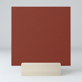 Small Living Coral Color of the Year in Coral Orange and Black Checkerboard Mini Art Print