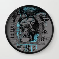 monster inc Wall Clocks featuring War inc. by Tshirt-Factory