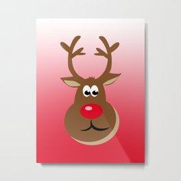 Happy Christmas Deer Metal Print