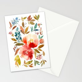 Red Turquoise Teal Floral Watercolor Stationery Cards