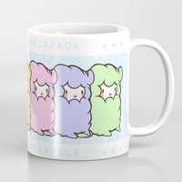 alpaca Mugs featuring Little alpaca by Lady Cibia