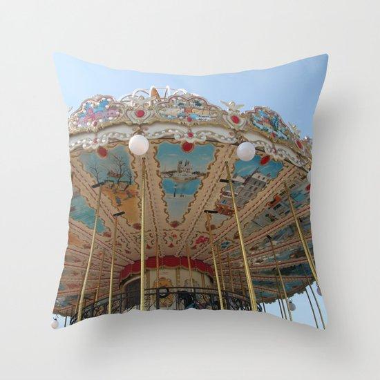 paris carousel Throw Pillow