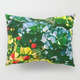 Abstract Garden Low Poly Geometric Triangles Pillow Sham