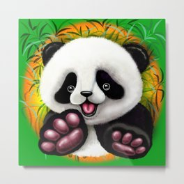 Panda Baby Bear Cute and Happy Metal Print