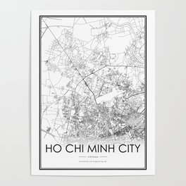 Ho Chi Minh City City Map Vietnam White and Black Poster