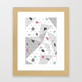 Abstract geometric climbing gym boulders pink mint Framed Art Print