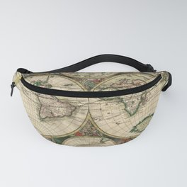 1689 Map of the World by Gerard van Schagen Fanny Pack