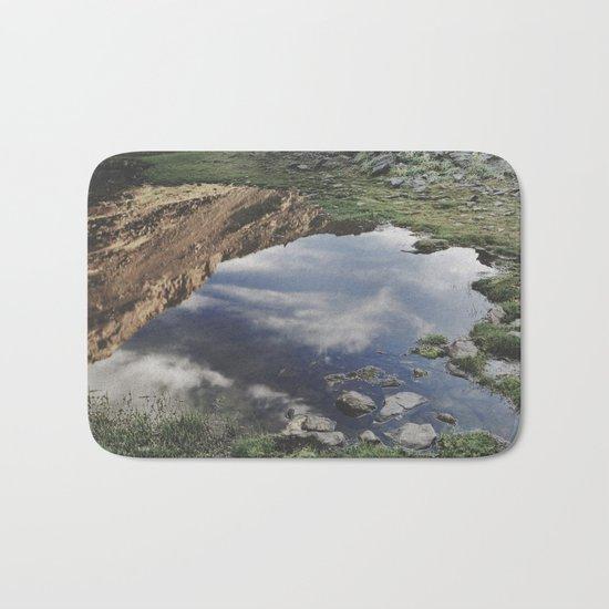 Dream Lake at the mountains. Retro Bath Mat