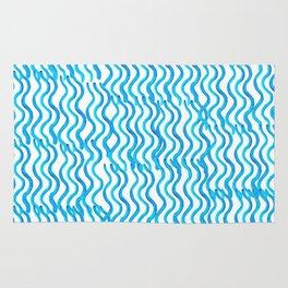 Nautical Miami Blue Indigo Ocean Wavey Rug
