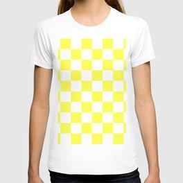 Cheerful Yellow Checkerboard Pattern T-shirt