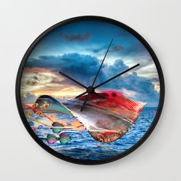 Electric Fying Stinray Wall Clock