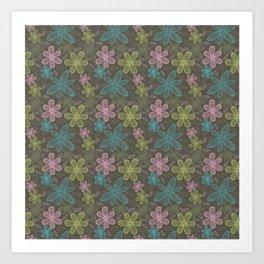 Lined flowers pattern Art Print