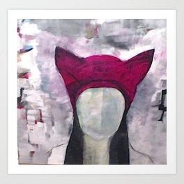 Original painting, abstract woman in pussyhat Art Print