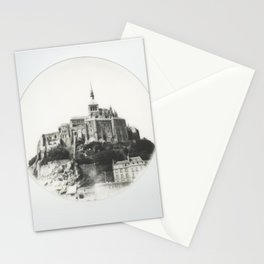Mont Saint-Michel in Black and White - Instant Film Photograph Stationery Cards