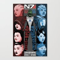 n7 Canvas Prints featuring N7: The Female Squad by Alex Rodway Illustration