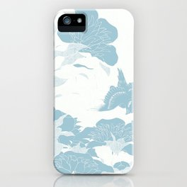 japanese Flowers White and Blue iPhone Case