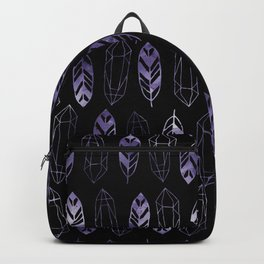 Purple Feathers and Gems on Black Pattern Backpack