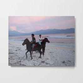 Horse at the beach Metal Print