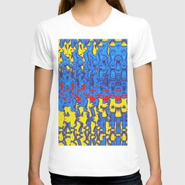 Abstract Art Irregular Pattern in Blue, Yellow and Red T-shirt