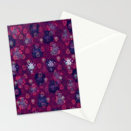 Lotus flower - wine red woodblock print style pattern Stationery Cards