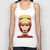 robert downey jr Tank Tops featuring Robert Downey Jr, vector caricature by Kaexi
