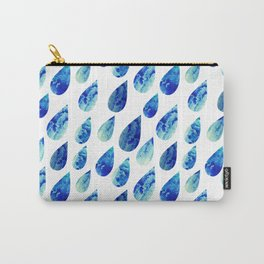 watercolor rain drops, seamless background with stylized blue raindrops Carry-All Pouch
