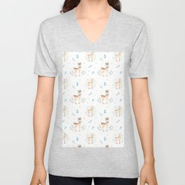 Cute Brown Deer Blue Yellow Green Christmas Holly Floral Unisex V-Neck