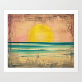 Ocean Sunset 1.0 Vintage Art Print