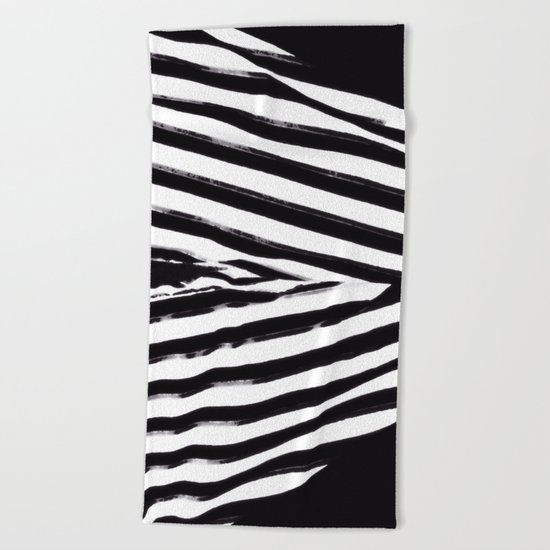 Black & White Stripes Beach Towel