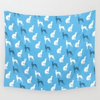 greyhound Wall Tapestries featuring Greyhound Dogs Pattern On Blue Color by ialbert