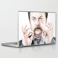 swanson Laptop & iPad Skins featuring Swanson Mustache by Olechka