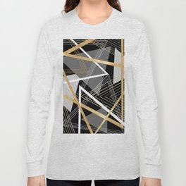 Original Gray and Gold Abstract Geometric Long Sleeve T-shirt