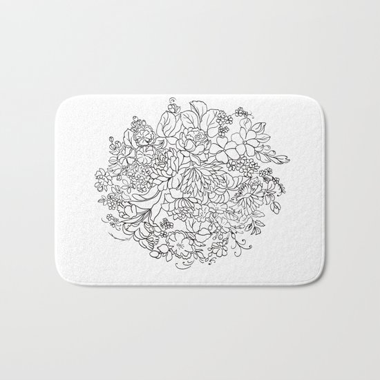 decorative bouquet of flowers and leaves Bath Mat