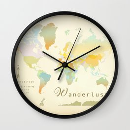 Wanderlust Vintage World Map Art Print Wall Clock