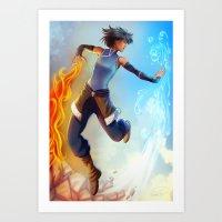 legend of korra Art Prints featuring Korra by Art of Golden Muse