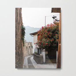 Street in Malcesine with a red flower tree | Italy Travel Photography | Lake Garda photo Metal Print