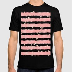 Rose gold confetti pink blush watercolor stripes modern chic pattern Mens Fitted Tee Black MEDIUM