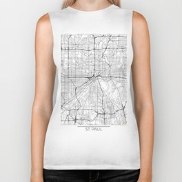 St Paul Map White Biker Tank