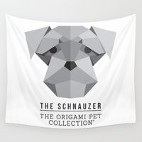 schnauzer Wall Tapestries featuring The Schnauzer by The Origami Pet Collection