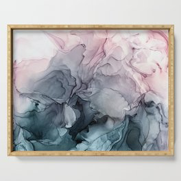 Blush and Payne's Grey Flowing Abstract Painting Serving Tray