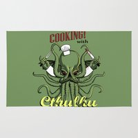 cooking Area & Throw Rugs featuring Cooking! with Cthulhu by Dinosir