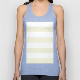 Wide Horizontal Stripes - White and Beige Unisex Tank Top