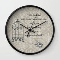 jane eyre Wall Clocks featuring Jane Eyre: I am no bird by AfterThisChapter
