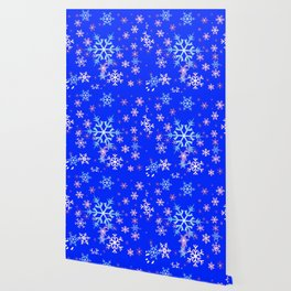 DECORATIVE BLUE  & WHITE SNOWFLAKES PATTERNED ART Wallpaper