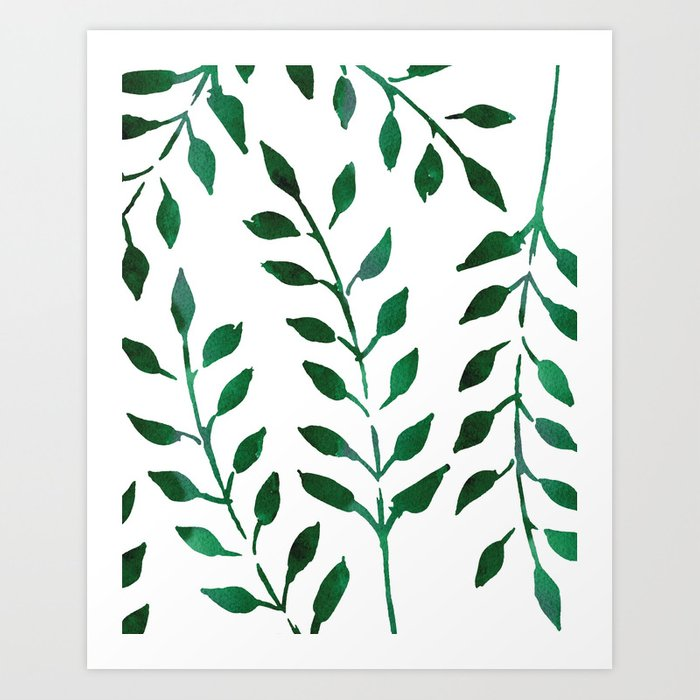 minimalist forest green leaves watercolor art print by naturemagick