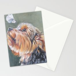 A realistic Yorkshire Terrier Portrait by L.A.Shepard fine art painting Stationery Cards
