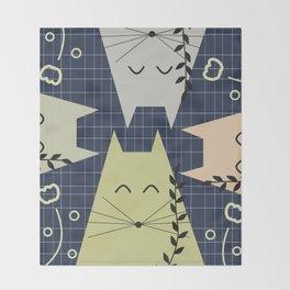 A few happy cats Throw Blanket