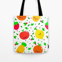 Cute & Whimsical Fruit Pattern with Kawaii Faces Tote Bag